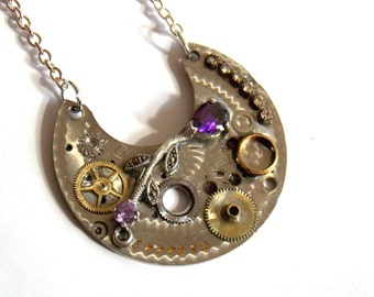 "VIctorian Steampunk Necklace ""Silver Symphony"" with Purple Crystals"