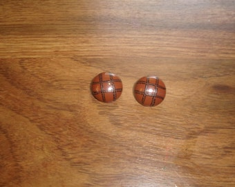 vintage clip on earrings brown black stripes metal circles