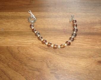 vintage bracelet amber glass faux pearls
