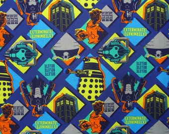 Doctor Who / Characters Fabric  / Dalek and Cybermen / Patch Style / BBC Series / By the Yard