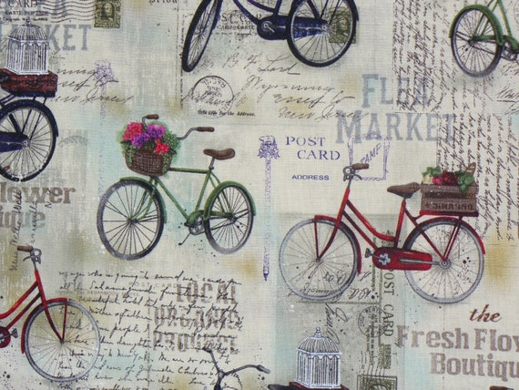 Vintage Bicycle / 1 1/2 Yards / Bicycles with Flowers & Birdcages / Postcards / Neutrals
