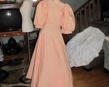 1860's Dress Suit, peach women's 1800's skirt & top. Big puffy sleeves bone bodice full skirt with small waist