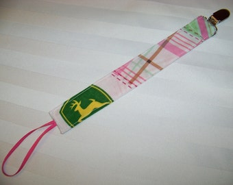 Fabric Pacifier Clip, Universal Pacifier Clip, Paci Clip, Binky Clip, John Deere Tractors, Pink and Green, Works with Most Pacifier Brands