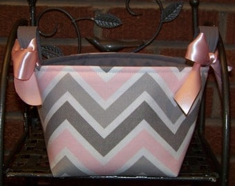 Fabric Easter Basket - Pink and Gray Chevron on White - Personalization Included - Great Storage Bin
