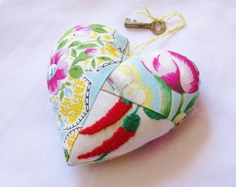 SALE Heart Ornament Bowl Filler Vintage Skeleton Key To My Heart Yellow Blue Patchwork Shabby Chic Rustic Flowers Pin Cushion For Her