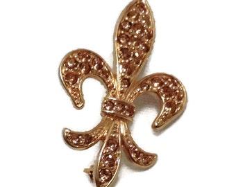 Rhinestones Fleur-De-Lis Fashion Costume Pin Brooch