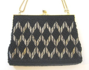 50s Beaded Bag Black Beaded Purse Black Silver and Gold Evening Bag 1950s Formal Purse Glass Bead Purse Small Purse  Black Evening Purse