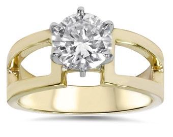2.00 Carat Diamond Engagement Ring Yellow Gold 14 Karat Solitaire Round Brilliant Cut Split Shank
