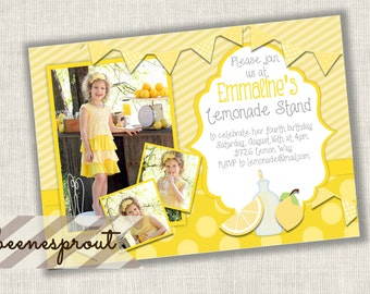Lemonade Stand Birthday Invitation Summer Lemons