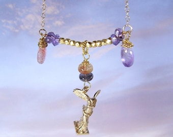 "moss amethyst,sunstone,tourmaline and  winged victory ""NIKE"" necklace"