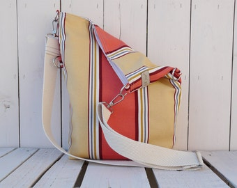 Tote Bag Canvas ~ Striped cross body messenger ~ nautical beach bag, unique gift for women, trending gift ideas, eco friendly bag