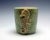 SALE 1/2 PRICE Handmade Ceramic Utensil Holder / OR Planter Medium Green with Large Seahorse and Fisherman Net Texture/Ceramics and Pottery