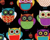 Snuggle Flannel Fabric Owls On Black