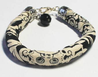 Fabric bracelet - Textile bracelet - Fabric jewelry - Textile jewelry - Black and cream - Tribal bracelet - Tribal jewelry - Handmade in USA