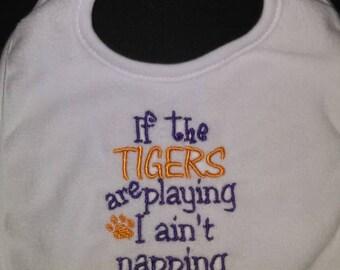I ain't napping Tigers Bib, lsu bib, tiger bib, purple and gold bib