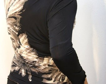 Black silky jersey modern off the shoulder top