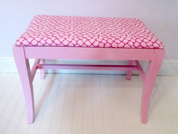 Pastel Pink Painted Vintage Bench With Vintage Hot Pink