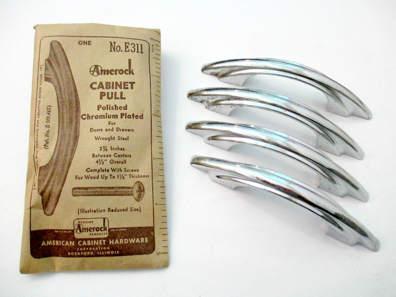 Lot Of 4 Vintage Art Deco Drawer Pulls 2.75u2033 Centers Chrome Handles Amerock Cabinet  Pulls No. E311