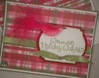 Handmade Christmas Card, Happy Holidays, Holiday Card, Bird, Plaid, Warm Holiday Wishes Card