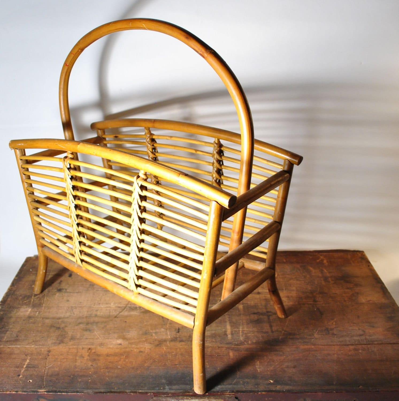 Vintage Bamboo Magazine Rack Furniture Storage Book Wicker
