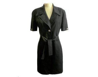 Alvin Bell Vintage 1980s Black Linen LBD
