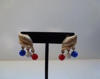 Vintage Earrings Vintage Clip On Earrings Red White and Blue Earrings Vintage Jewelry