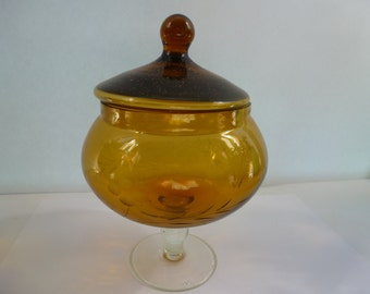 Vintage Amber Glass Pedestal Candy Dish Etched Flower Candy Dish in Amber Glass