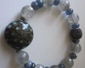 Yoga Crystal Kyanite and Rutilated Quartz Braclet