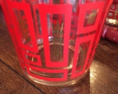 Red and gold glass vintage ice bucket starburst