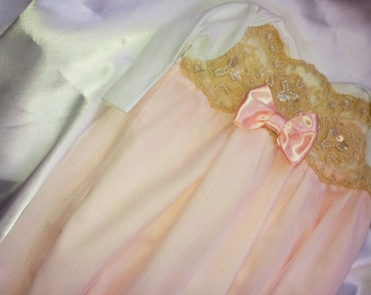 Newborn Girls Pale Pink Chiffon Lace Layette gown Coming home Outfit