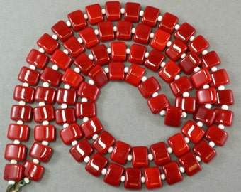 VINTAGE RED GLASS beads necklace. flapper necklace. rectangular. rectangle. pallet bead. 10mm by 8mm No.001734