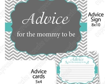 Teal Grey Chevron Shower Mommy to be Advice sign and cards  PRINTABLE   INSTANT Download - 1020