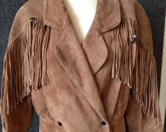 1980s Suede Leather fringe jacket Womens Small