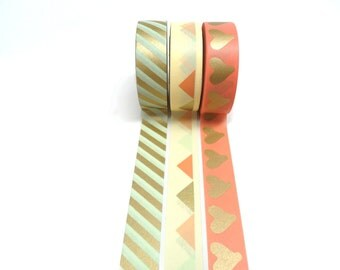 Mint Green and Gold Stripe, Gold Heart and Pink, Gold Pink and Mint Green Triangles Washi Tape Set of 3