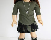 American Girl Doll Clothes - Military Outfit, Camo Pleated Skirt, Olive Green Shirt, Camo Boots and Faux Dog Tags, 18 inch Doll Clothes