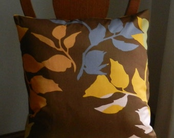 Leaves Throw Pillow Cover Brown, Gray, Orange, Gold, Yellow Floral 20 x 20 inch with zipper closure, Anna Maria Horner home dec fabric