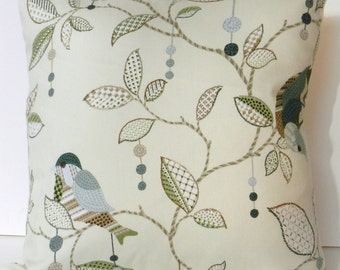Birds and Vines Throw Pillow Cover ,  P/Kaufman Floral Soil and Stain Repellent Finish Fabric, 16 inch with zipper closure for bed, sofa