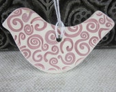 Maroon and White Spiral Robin Bird Ornament