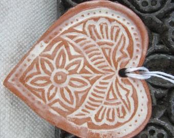 Large Terracotta Ceramic Textured Heart Ornament
