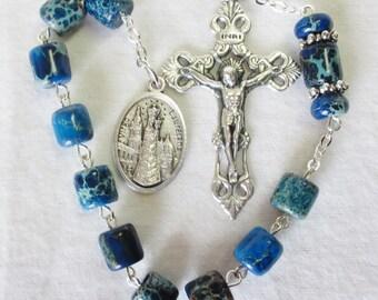 Handmade Catholic Tenner Single Decade Rosary, Our Lady of Loreto, Blue Impression Jasper Beads, Loreto Crucifix