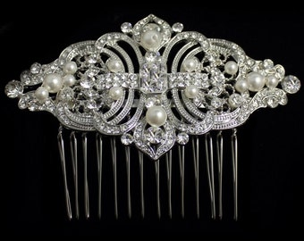 Crystal and Pearl Hair Comb. Art Deco Crystal Bridal Hair Comb