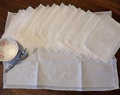 12 Vintage Placemats or Napkins- Monogrammed Ivory Linen with Organdy Border