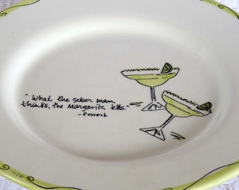 Appetizer plate, bar server, snack plate, margarita quote, home decor, table decor, buffet decor, lime green