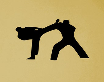 Martial Arts wall decor,Karate Sports Decoration,Silhouette,Metal Art, MMA