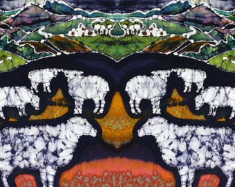 "Sheep at Midnight  - batik fabric swatches 10"" x 36"") from original - Custom printed fabric-Applique quilt panel"