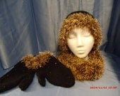 Holiday 3 piece set: Hat, infinity scarf and mittens, black with sequins, trimmed with gold fun fur.