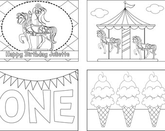 Set of 12 Carousel Birthday Coloring Books