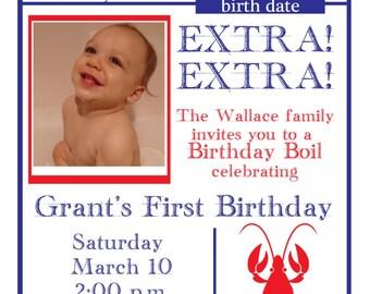 Crawfish Birthday Boil Digital Invitation