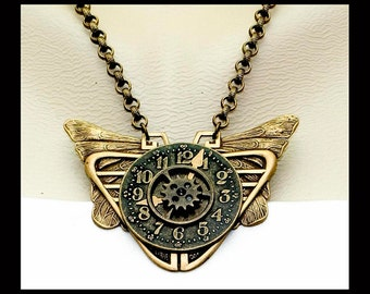 Vintage Victorian Steampunk Mothra Butterfly Clockface Gear Cog Focal Pendant Necklace
