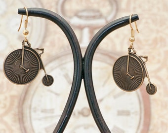 Vintage Victorian Steampunk Antiqued Brass Penny Farthing Hi-Wheeled Bicycle Earrings